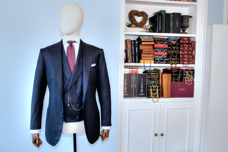 bespoke blue suit for men